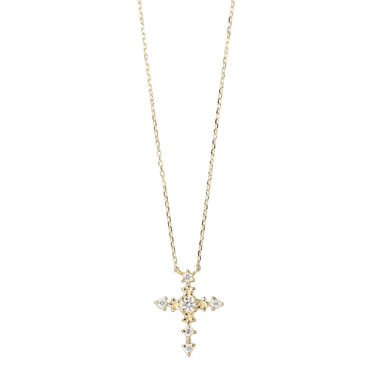 フラワー&ダイヤ ミドル クロス ネックレス