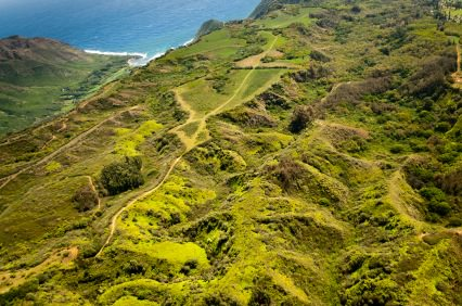 Green hills of Molokai island