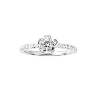 プラチナ ソリティア&ハーフエタニティ プルメリア婚約指輪 ISWE005