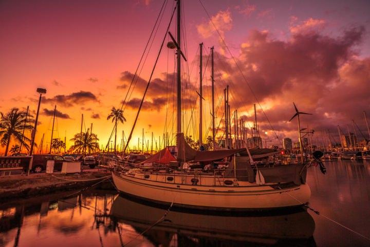 ヨットハーバー,ハワイ